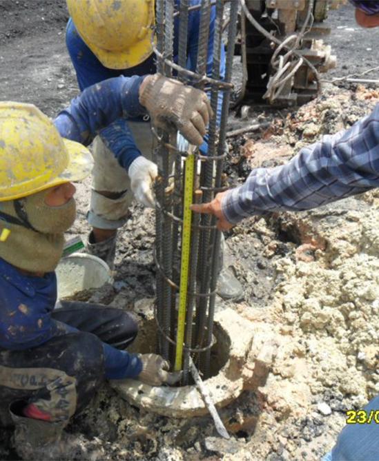 งานเข็มเจาะ Bored Pile Dia 35 mm ลึก 14 เมตร